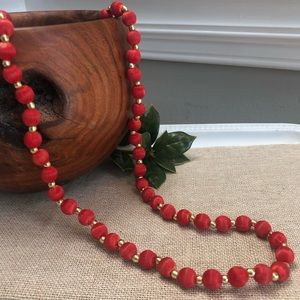 Vintage Red Silk Wrapped Beaded Necklace